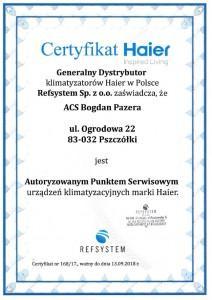 Certyfikat Haier Refsystem