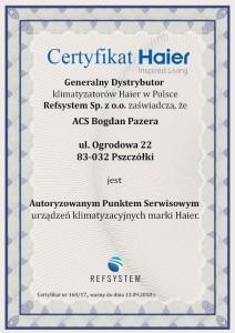 Certyfikat Haier